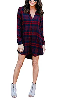 Women Plaid Flannel Shirt - Casual Fall Long Sleeve V Neck Gingham Blouse Dress Tunic Top