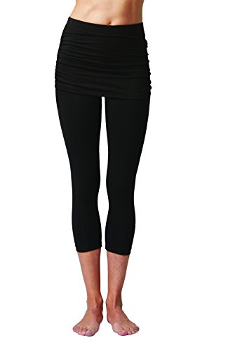 Tights Legging With Gathered Over Skirt Capri Yoga Pants Cropped Leggings Black (Fold Over Cropped Pant)