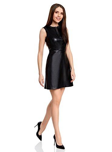 oodji Ultra Mujer Vestido de Piel Sintética con Decoración Metálica Negro (2900N)