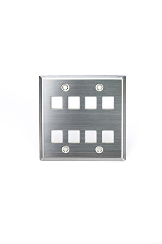 - Leviton 43080-2S8 QuickPort Wallplate, Dual Gang, 8-Port, Stainless Steel