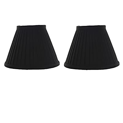 Upgradelights Six Inch Set of 2Clip on Mini Chandelier Lamp Shade in Black Pleated Silk with Gold Interior