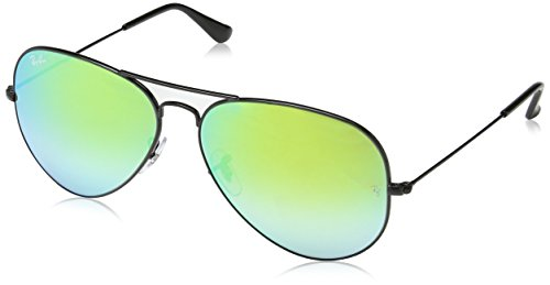 Ray-Ban RB3025 Aviator Flash Mirrored Sunglasses, Shiny Black/Green Gradient Flash, 62 mm ()