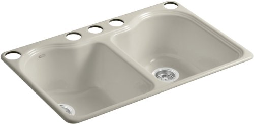 - Kohler K-5818-5U-G9 Hartland Double Equal Undercounter Sink with Five-Hole Faucet Drilling, Sandbar