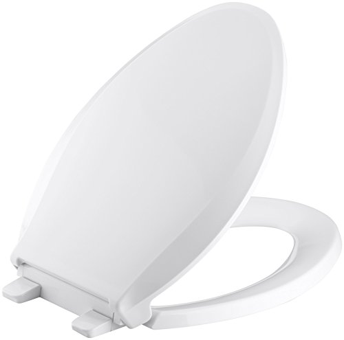 KOHLER K-4636-0 Cachet Elongated White Toilet Seat, with Grip-Tight Bumpers, Quiet-Close Seat, Quick-Release Hinges, Quick-Attach Hardware, No Slam Toilet Seat, - Close Slow Lid Toilet