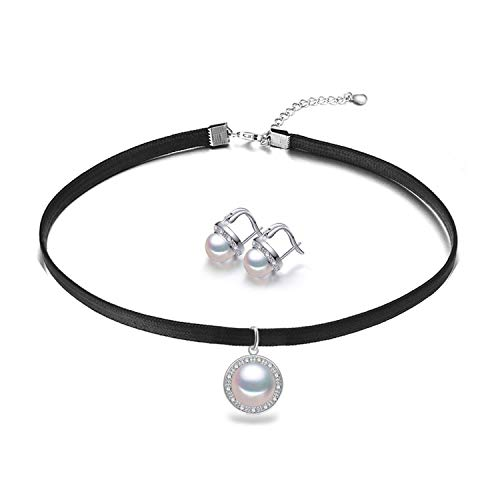 Pearl Choker Necklace for Women 925 Sterling Silver Round Ethnic Freshwater Pearl Pendant Fashion Rope Chain,Pearl Pink