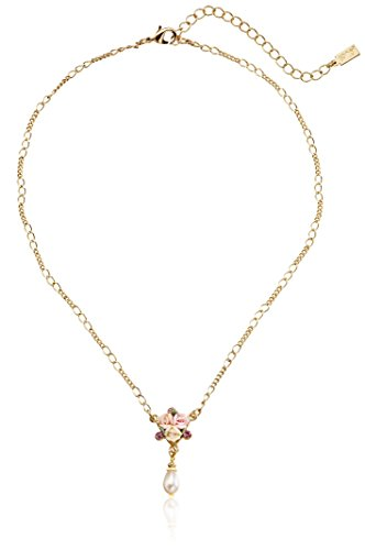 1928 Jewelry Gold-Tone Crystal Pink Porcelain Rose Simulated Pearl Adjustable Pendant Necklace, 16