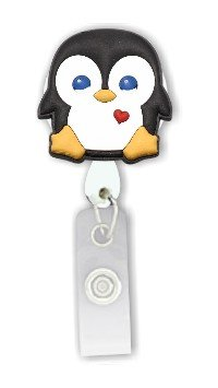 Penguin 3D Rubber Retractable Badge