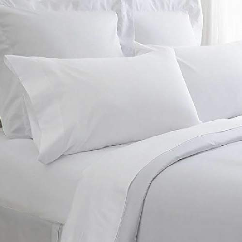 Thaisan7, 12 king size white hotel flat sheet T250 series percale hotel 108x110 ()