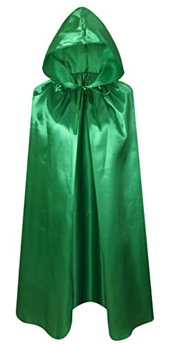 Crizcape Kids Costumes Cloak DIY Cape with Hood for Halloween Christmas Ages 2 to 18 (Green, 100cm/ages8-18)