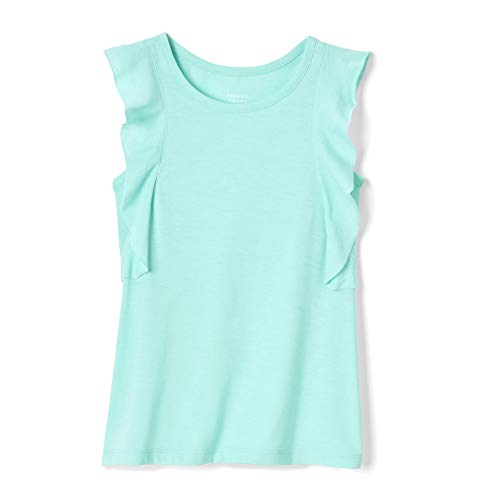 French Toast Girls' Little' Side Ruffle Tank Top, Trellis Aqua Heather, 4 (Trellis French)
