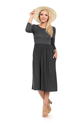 iconic luxe Women's Solid Fit and Flare Midi Dress with Pockets Medium Charcoal