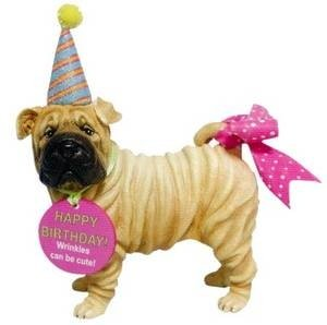 Happy Birthday Shar Pei Figurine