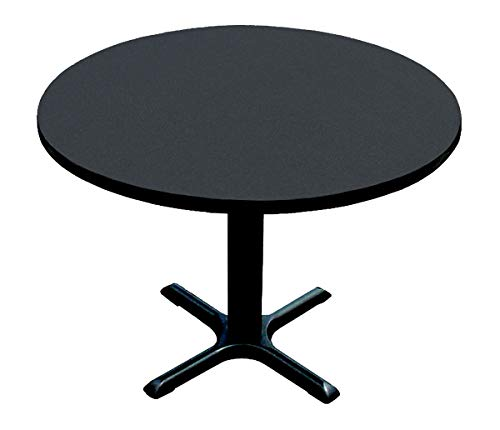 Correll BXT30R-07 Black Granite Top and Black Base Round Bar, Café and Break Room Table, 30""