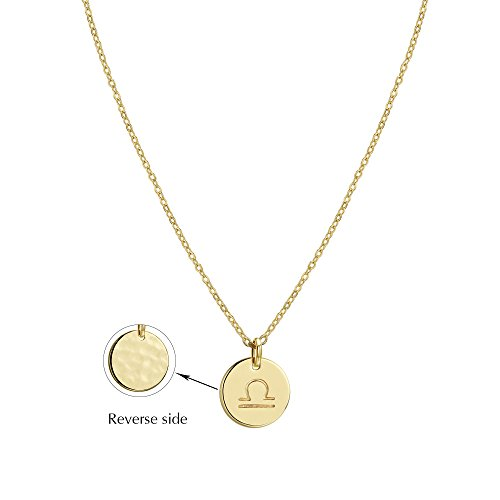 Zodiac Libra (Befettly Constellation Necklace Pendant 14K Gold-Plated Hammered Round Disc Engraved Zodiac Sign Pendant 17.5'' Adjustable Dainty Necklace NK-Libra)