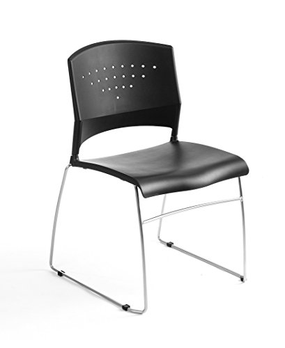 Boss Office Products B1400-BK-1 Chrome Frame Stack Chair 1 Pack in Black