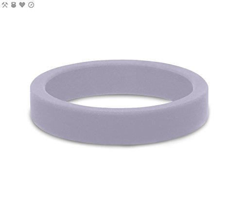 QALO Women's Amethyst Purple Smooth Stackable Silicone Ring Size 07 ()