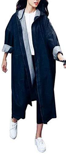 Style Giacca Autunno Cappotto Ragazze Giovane Primaverile Festa Lunga Casuale Schwarz Eleganti Colori Outerwear Manica Con Solidi Jeans Jacket Denim Moda Cappuccio Baggy Donna vxA8SrRvn