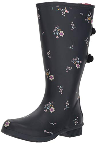 Chooka Women's Wide Calf Memory Foam Rain Boot, Navy, 7 M US
