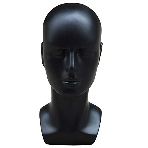 Hairdressing-Multi-Use Plastic Man Mannequin Head Model Mask Glasses Hat Wig Display Props - Black ()