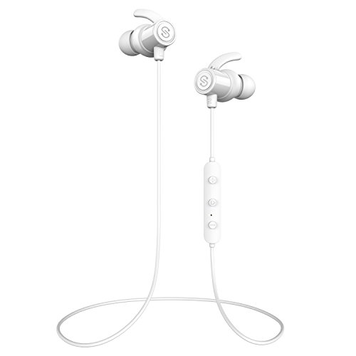 SoundPEATS Magnetic Wireless Earbuds Bluetooth Headphones Sport In-Ear IPX 5 Sweatproof Earphones with Mic (Super sound quality Bluetooth 4.1, aptx, 8 Hours Play Time, Secure Fit Design) - White