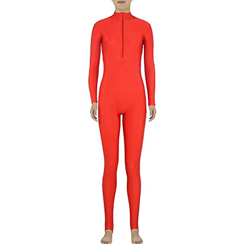 [Muka Adult Zentai Spandex Polo Neck Unitard Supersuit Costume Dancewear RED-L] (1980 Theme Party Costume Ideas)