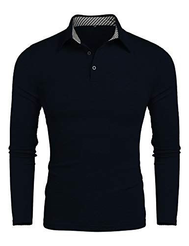 Men's Classic Fit Long Sleeve Golf Polo Shirts Casual Striped Collar Polo T Shirt Navy L ()
