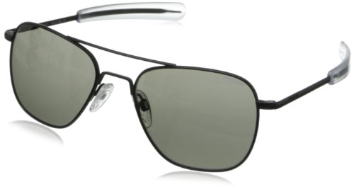 Randolph Aviator Square Sunglasses, 55, Matte Black, Bayonet, Gray - Pilot Women For Sunglasses