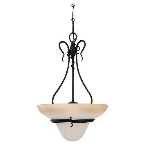 (Sea Gull Lighting 6614-185 Saranac Lake Three-Light Pendant, Forged Iron Finish with Ember Glow Glass)