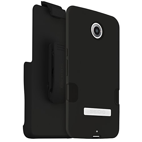 Seidio DILEX Pro Case with Metal Kickstand and Holster Combo for use with Motorola Nexus 6 - Retail Packaging - Black