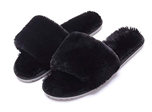 - Women's Fuzzy Fluffy Furry Fur Slippers Flip Flop Open Toe Cozy House Memory Foam Sandals Slides Soft Flat Comfy Anti-Slip Spa Indoor Outdoor Slip on (04/Black, 7.5-8.5 N US)