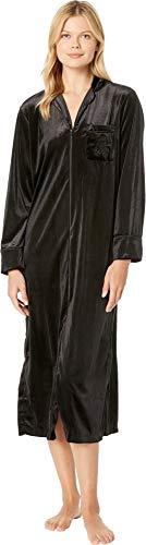 (Lauren Ralph Lauren Women's Velvet Long Sleeve Notch Collar Zip Front Caftan Black X-Large)