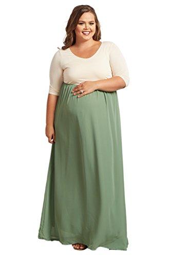 PinkBlush Maternity Green Chiffon Colorblock Plus Maxi Dress, 3X