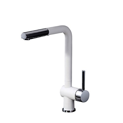 Lever Kitchen America Faucet Single (Lovedima Single Lever Pull-Out Spray Touch On Kitchen Sink Faucet Filler,Kitchen Mixer Tap With 360 Degree swiveling Spout in White Chrome)