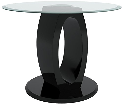 Height 54 Inch Round Pedestal Table - Furniture of America Quezon Round Glass Top Pedestal Pub Table, Black