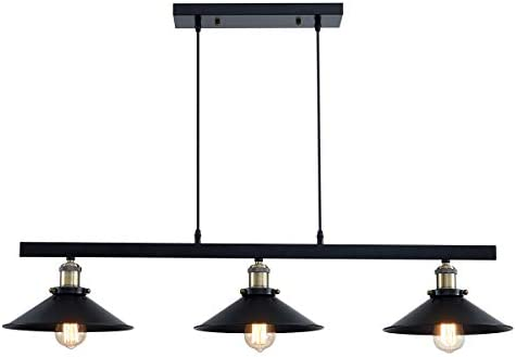 ANJIADENGSHI Three-Light Pendant Light Kitchen Island Light Adjustable Industrial Chandelier Farmhouse Vintage Ceiling Lights Fixture