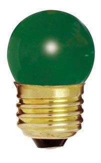 Bulbrite 702407 - 7.5S11G - Green 7.5 Watt S11 Light Bulb, 130 Volt Long Life, Medium Base