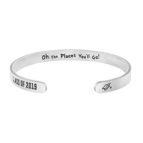 MEMGIFT Inspirational Gifts for Women Hidden Message Cuff Bracelet Personalized Birthday Jewelry (Class of 2019-Oh The Places You'll go) (Go Green Bracelet)