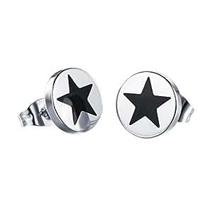 HIJONES Unisex Acero Inoxidable Negro Pequeño Oído Estrellas Stud Piercing Aretes