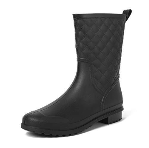 Magone Womens Block Heel Rain Boots Fashion Rain Shoes Black 7