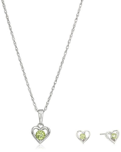 ng Silver Peridot Open Heart Stud Earrings and 16
