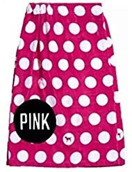 (Victoria's Secret Pink Polka Dot Body Wrap Towel Bath Shower Beach Cover Up, One Size )