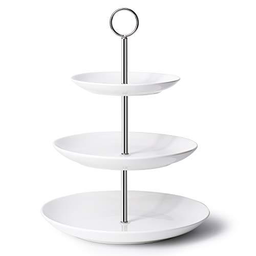 Krockery 3-Tier White Porcelain Cupcake Stand-Cake Stand- Dessert Stand/Porcelain Serving Plates for - Porcelain Cake Plate