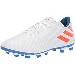 adidas Men's Nemeziz Messi 19.4 Firm Ground Soccer Shoe, White/Solar Red/Football Blue, 7 M US