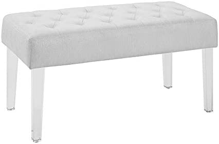 Amazon Com Benjara Tufted Fabric Upholstered Bench With Acrylic Legs White And Clear Table Benches