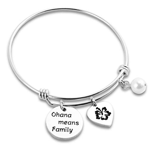 Hopyee Ohana Bracelet Disney Bracelet for Women Lilo Jewelry Gifts Engraved Ohana Means Family Bangle Hawaii Bracelet Gift for Lilo and Stitch Fans