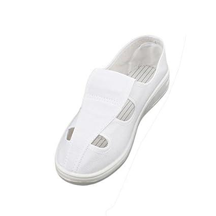eDealMax US4 UK2 EU34 PU antideslizante Suela Plana Anti-estáticas Zapatos 4 orificios lienzo en