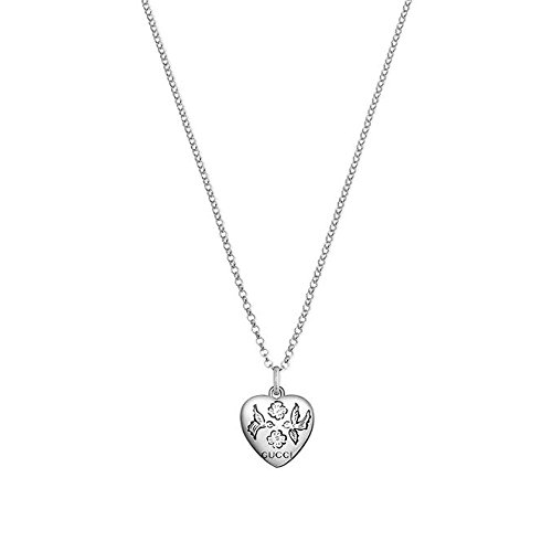 Gucci Women's 45cm Blind for Love Heart Necklace Silver Necklace