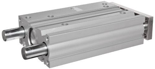 SMC MGPM63N-25 Aluminum Air Cylinder with Guide Rod Plate, Slide Bearing, Compact, Double Acting, Switch Ready, Rubber Cushion, 63 mm Bore OD, 25 mm Stroke, 20 mm Rod OD, 1/4