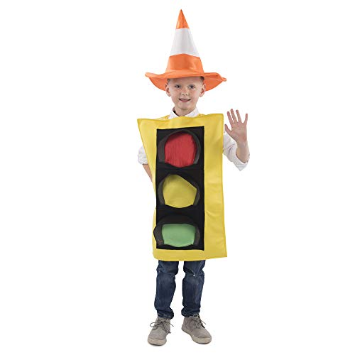 Dress Up America Traffic Light Costume and Safety Cone Hat - for Kids Toddler 4/Small (4-6)]()