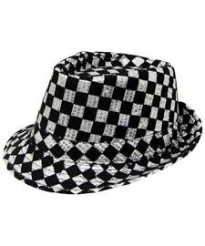 Black and White Checkered Fedora with Silver (Checkered Fedora Adult Hat)